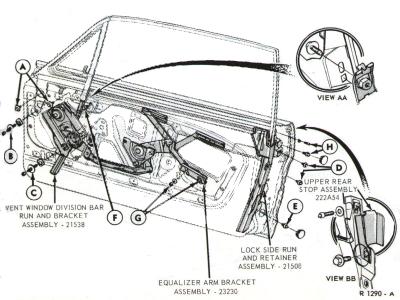 rear quarter window adjustment? vintage mustang forums 65 mustang headlight diagram 65 mustang door glass diagram #3