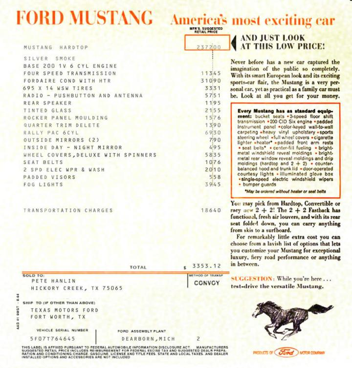 Recreating The Window Sticker Vintage Mustang Forums